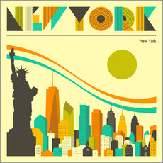 Selvklæbende plakat  New York skyline - Jazzberry Blue