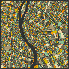 Galleritryk  Budapest Map - Jazzberry Blue