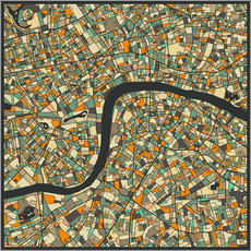 Selvklæbende plakat  London Map - Jazzberry Blue