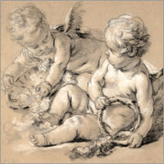 Akrylbillede  Winged Putti with Flowers - François Boucher
