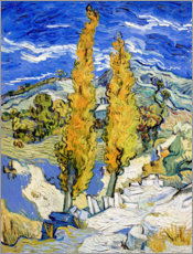 Akrylbillede  Two Poplars on a Hill - Vincent van Gogh