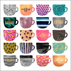 Galleritryk  Pretty coffee cups - Elisabeth Fredriksson