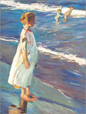 Print på træ  Girl on the beach - Joaquín Sorolla y Bastida