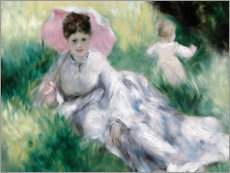 Premium-plakat  Dame and toddler on a hill - Pierre-Auguste Renoir