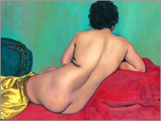 Premium-plakat Nude from behind on a red sofa