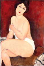 Selvklæbende plakat  Nude Sitting on a Divan - Amedeo Modigliani