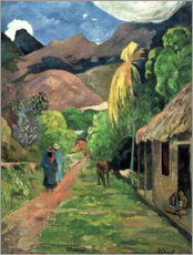 Print på træ  Road into the mountains - Paul Gauguin