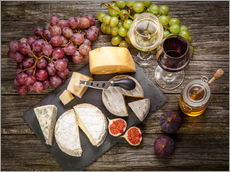 Galleritryk  Wine and cheese still life