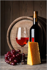 Selvklæbende plakat  Red wine with cheese and grapes