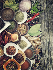 Galleritryk  Spices And Herbs On Rusty Old Wood