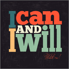Selvklæbende plakat  I can and i will - Typobox