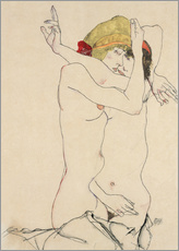 Selvklæbende plakat  Two women embracing - Egon Schiele