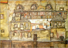 Selvklæbende plakat  House on a River (Old House I) - Egon Schiele
