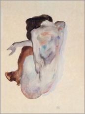 Galleritryk  Crouching Nude in Shoes and Black Stockings, Back View - Egon Schiele