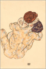 Akrylbillede  Man and Woman, Embrace - Egon Schiele
