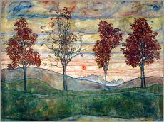 Galleritryk  Four trees - Egon Schiele