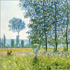 Selvklæbende plakat  Sunlight Effect under the Poplars - Claude Monet