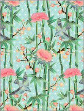 Selvklæbende plakat bamboo birds and blossoms on mint