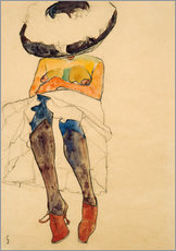 Selvklæbende plakat  Seated Semi Nude with Hat and Purple Stockings - Egon Schiele