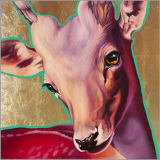Galleritryk  deer gold - Renate Berghaus
