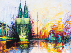 Galleritryk  Cologne Cathedral Skyline colored - Renate Berghaus