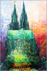 Selvklæbende plakat  Cologne Cathedral Abstract - Renate Berghaus