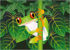 Selvklæbende plakat  Hold on tight little frog! - Kidz Collection