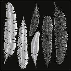 Selvklæbende plakat  Feathers in silver