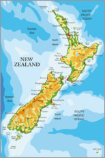 Lærredsbillede  New Zealand - Map