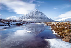 Selvklæbende plakat  Buachaille Etive Mor and River Coupall, Glen Coe (Glencoe), Highland region, Scotland, United Kingdo - Karen Deakin