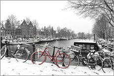 Galleritryk  Red bicycle in the snow - George Pachantouris