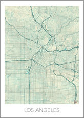 Selvklæbende plakat  Los Angeles Map Blue - Hubert Roguski