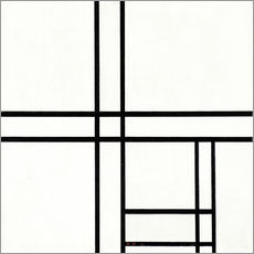 Selvklæbende plakat  Composition in black and white, with double lines - Piet Mondrian