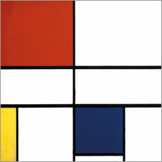 Selvklæbende plakat  Composition C (No.III) with Red, Yellow and Blue - Piet Mondriaan