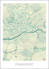 Selvklæbende plakat  Frankfurt, Germany Map Blue - Hubert Roguski