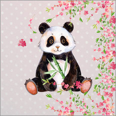 Galleritryk  Little panda bear with bamboo and cherry blossoms - UtArt