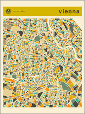 Galleritryk  VIENNA MAP - Jazzberry Blue