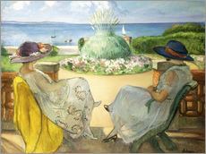 Selvklæbende plakat  Two Young Women on a Terrace by the Sea - Henri Lebasque