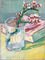 Selvklæbende plakat  Blossoming Almond Branch in a Glass with a Book - Vincent van Gogh