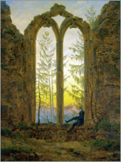 Print på træ  The Dreamer - Caspar David Friedrich