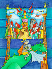 Galleritryk  Knights Dragon and the Knight's Castle - Atelier BuntePunkt