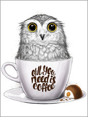 Selvklæbende plakat  Owl you need is coffee - Nikita Korenkov