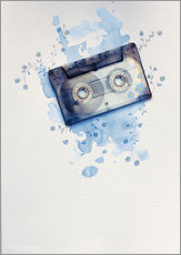Selvklæbende plakat  Music tape with flowers and watercolour wash - Sybille Sterk