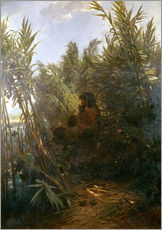 Selvklæbende plakat  Pan in the reed - Arnold Böcklin
