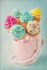 Galleritryk  Colorful cupcake pops on blue background - Elena Schweitzer