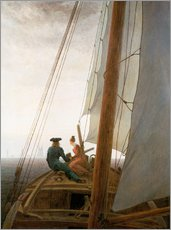 Selvklæbende plakat  On the Sailing ship - Caspar David Friedrich