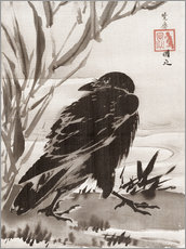 Galleritryk  Crow and Reeds by a Stream - Kawanabe Kyosai