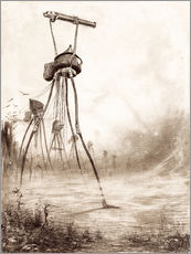 Galleritryk  Martian tripods advancing in a line - Henrique Alvim Correa