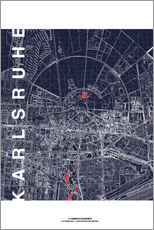 Galleritryk  Karlsruhe city map at midnight - campus graphics