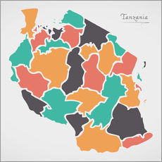 Selvklæbende plakat Tanzania map modern abstract with round shapes